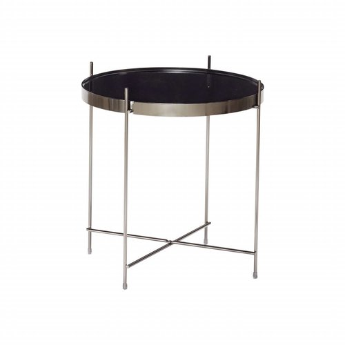 Hubsch bijzettafel zwart metaal/glas
