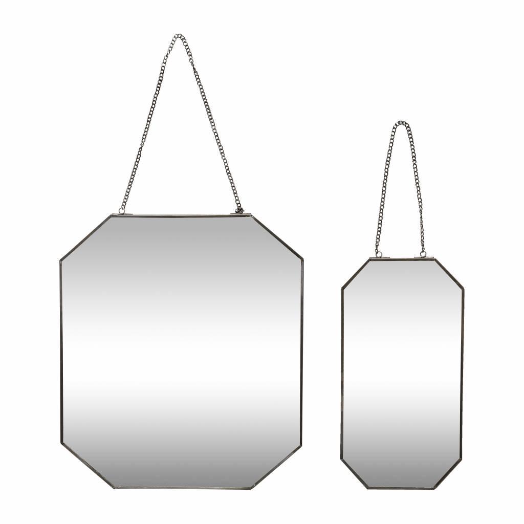Hubsch wandspiegel zwart metaal/glas s/2