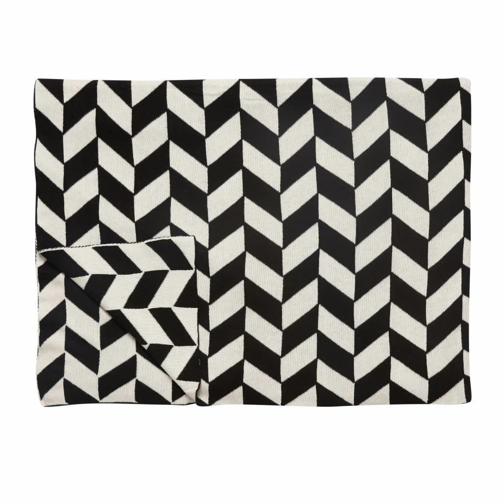 Hubsch plaid zwart/wit katoen - 229015