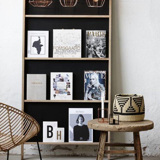 krijtbord staand wandmodel - bruin/zwart eikenhout - 90 x 6 x 190 cm