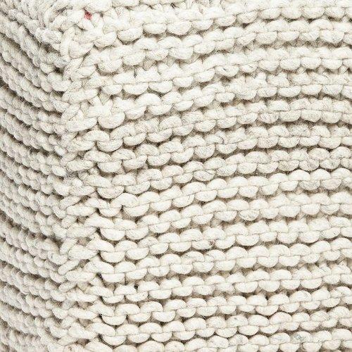 Hubsch poef grijs wol