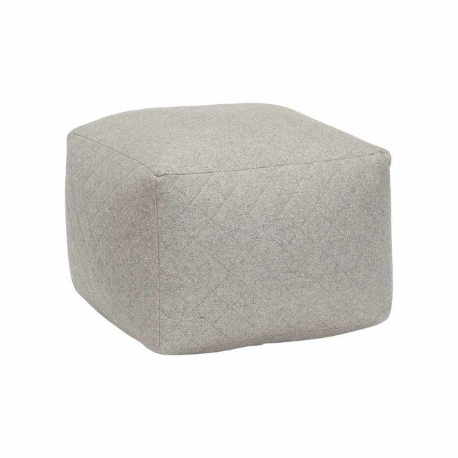 poef grijs wol