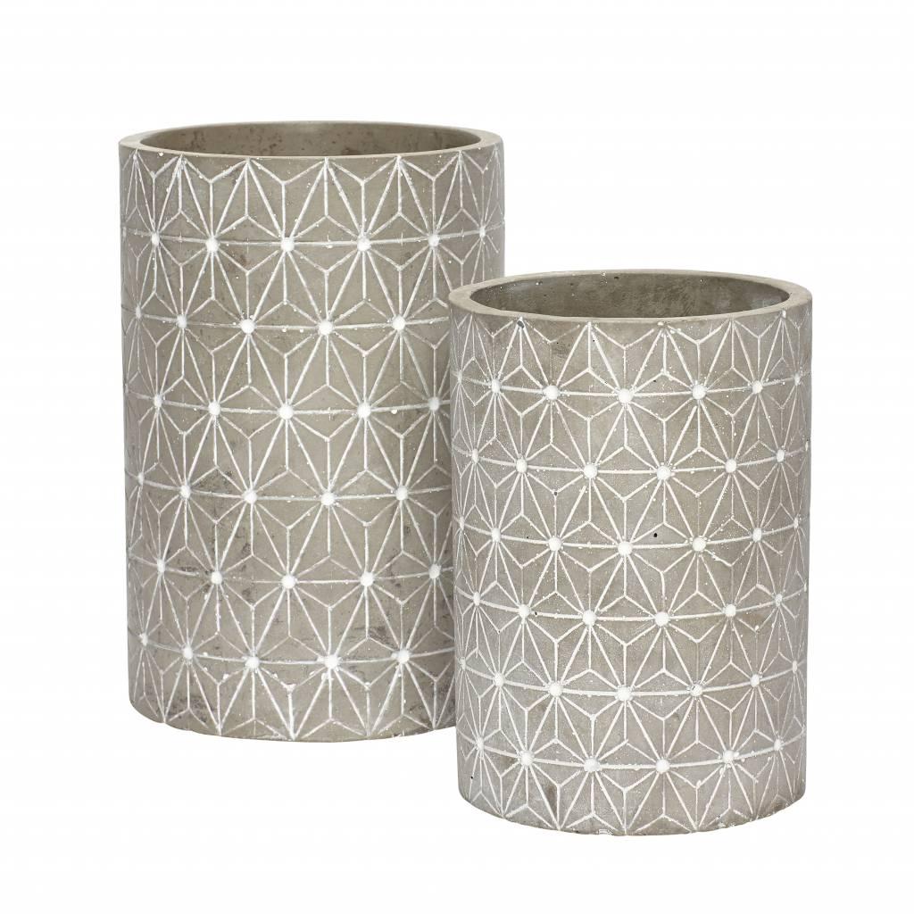 Hubsch bloempot grijs beton-449015-