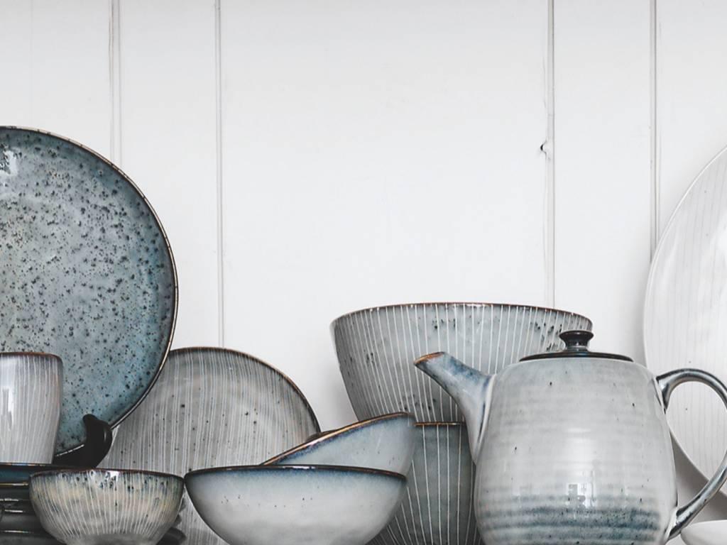 Broste Copenhagen theepot Nordic Sea - blauw/wit aardewerk - 1,3 L-14531030-5709895873199