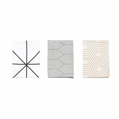 Hubsch theedoek wit/grijs/zwart textiel