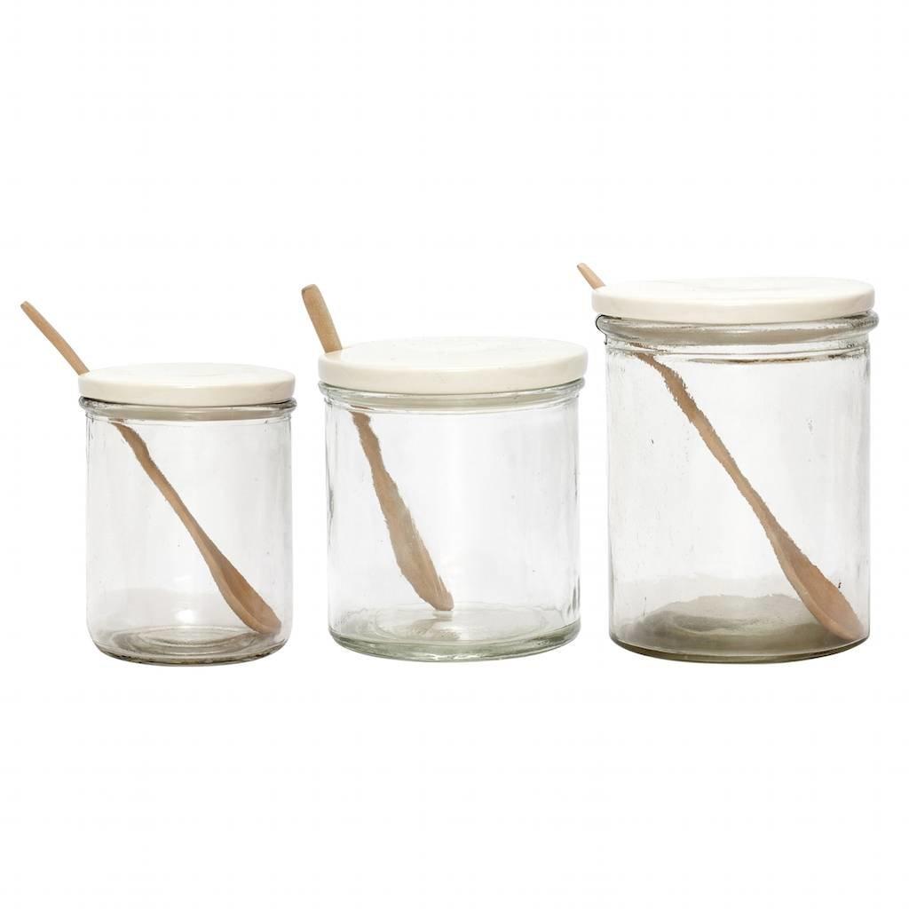 Hubsch voorraadpot wit glas/porselein - 649020