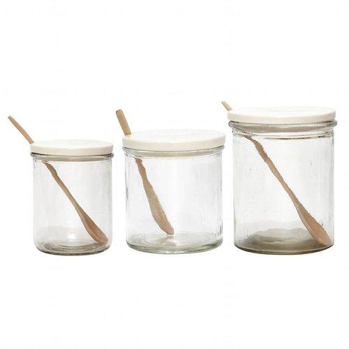 Hubsch voorraadpot wit glas/porselein