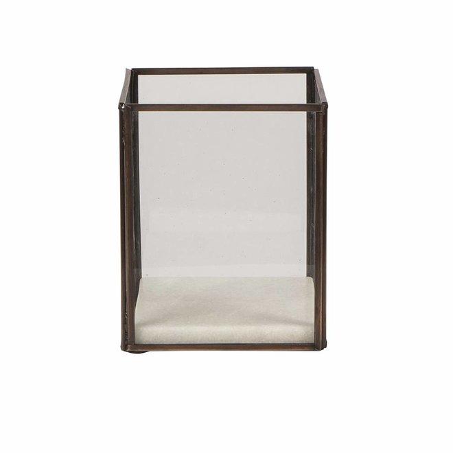 Windlicht Square koper, metaal en glas