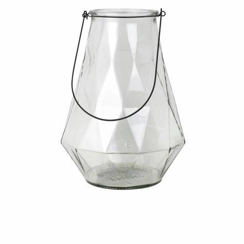 Broste Copenhagen vaas naturel/zwart glas/metaal