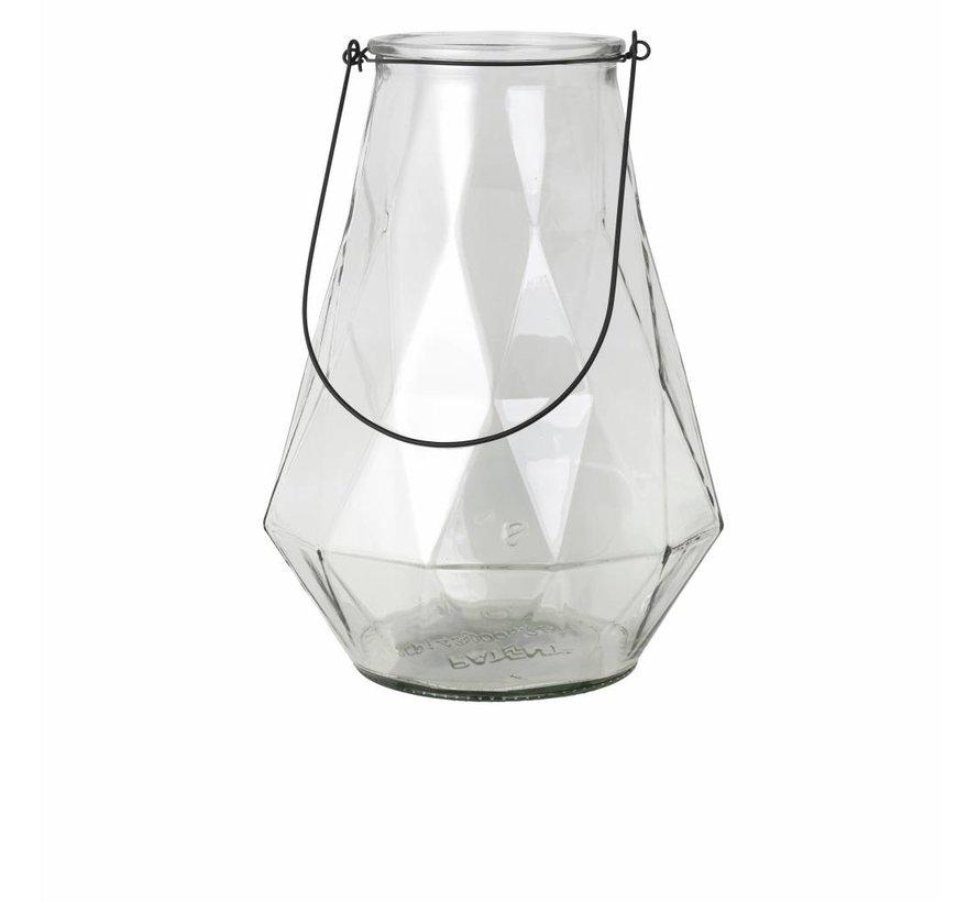 vaas naturel/zwart glas/metaal