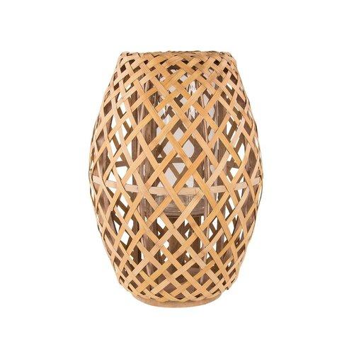 Broste Copenhagen windlicht bruin bamboe/glas