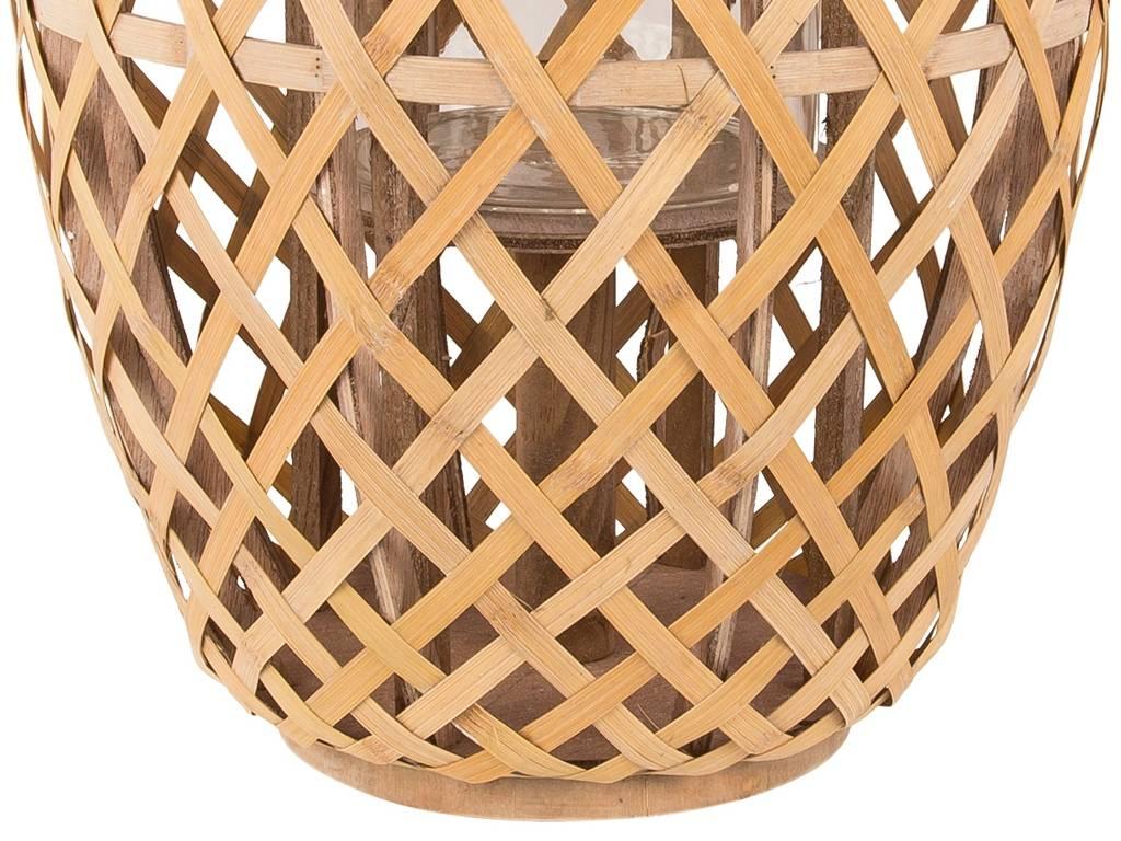 Broste Copenhagen windlicht bruin bamboe/glas-14590609-5710688036653