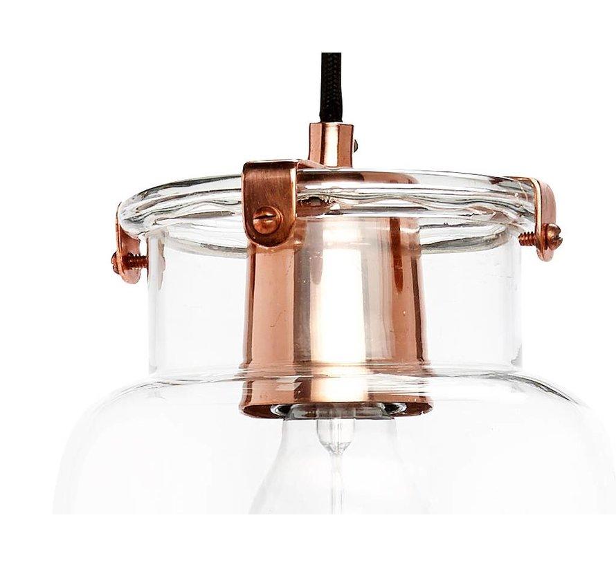 hanglamp koper metaal/glas