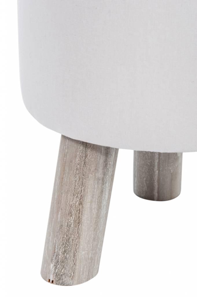 J-line kruk wit/bruin stof/hout