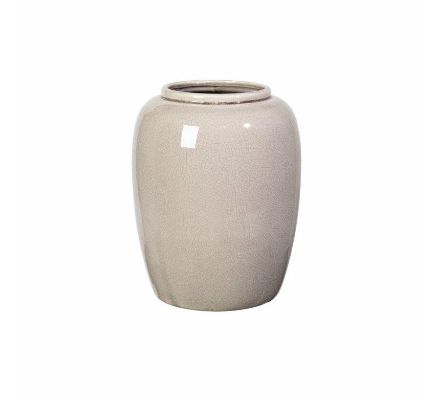 vaas, aardewerk, roze, crackle, ø12 x 25,5 cm