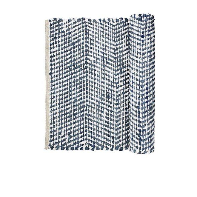 vloerkleed, katoen, wit en blauw, 140 x 70 cm