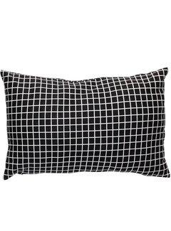 Hubsch sierkussen, polyester textiel, zwart, ruiten, 40 x 60 cm. Hubsch 71984708