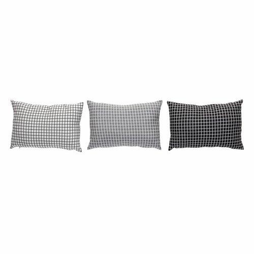 Hubsch sierkussen, polyester textiel, lichtgrijs, ruiten, 40 x 60 cm