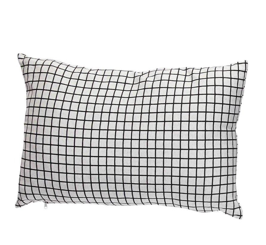 sierkussen, polyester textiel, lichtgrijs, ruiten, 40 x 60 cm