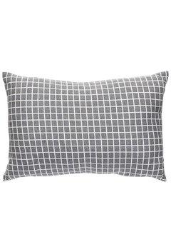 Hubsch sierkussen, polyester textiel, donkergrijs, ruiten, 40 x 60 cm. Hubsch 71993486