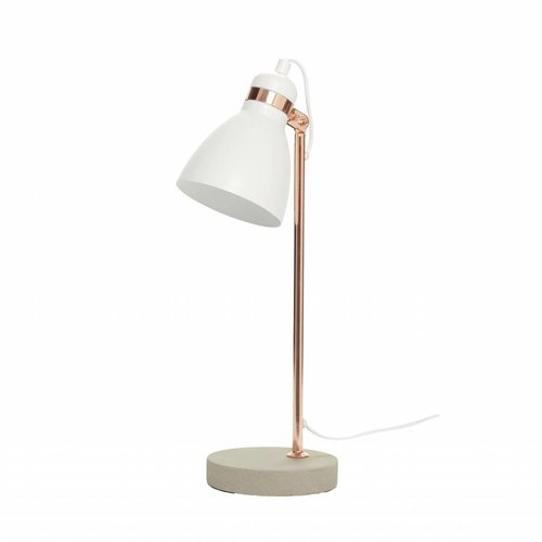 Hubsch tafellamp, metaal/beton, koper/grijs/wit, E14 11W, 15 x 15 x 50 cm