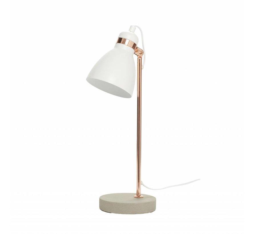 tafellamp, metaal/beton, koper/grijs/wit, E14 11W, 15 x 15 x 50 cm
