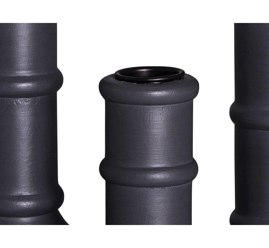 kandelaar, hout, donkergrijs, met anti-kras vilt, ø7 x 15 cm, set van drie