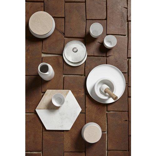 Hubsch opbergpot, keramiek en hout, wit en bruin, met deksel, ø13 x 8 cm