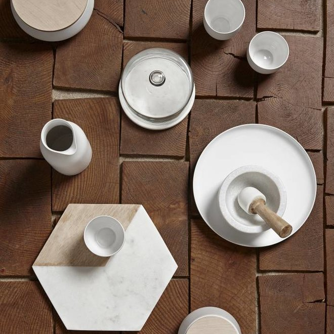 Hubsch opbergpot, keramiek en hout, wit en bruin, met deksel, ø13 x 8 cm - 649005