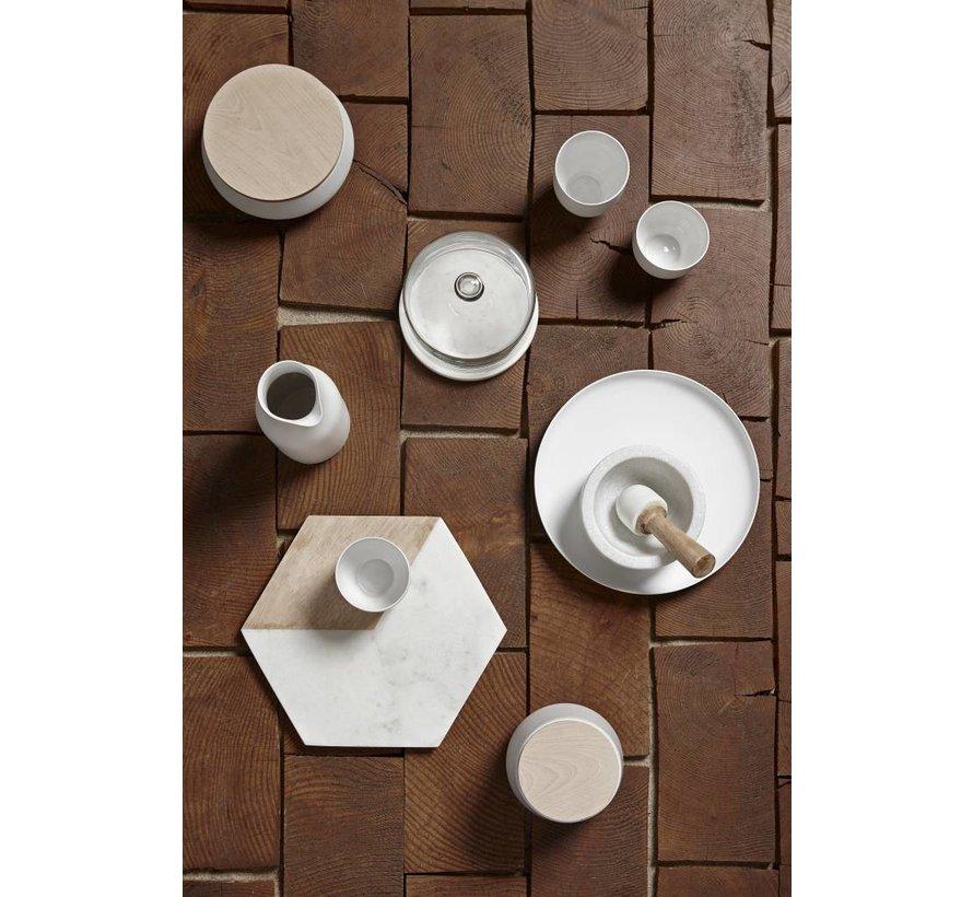 opbergpot, keramiek en hout, wit en bruin, met deksel, ø13 x 8 cm