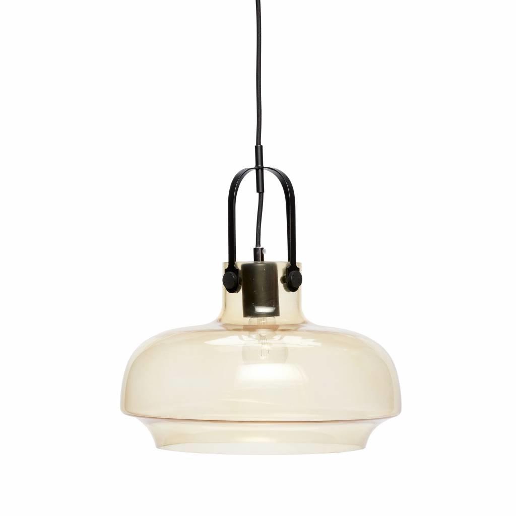 Hubsch hanglamp, glas en metaal, bruin en zwart, inclusief plafondkap, ø35 x 35 cm - 990302