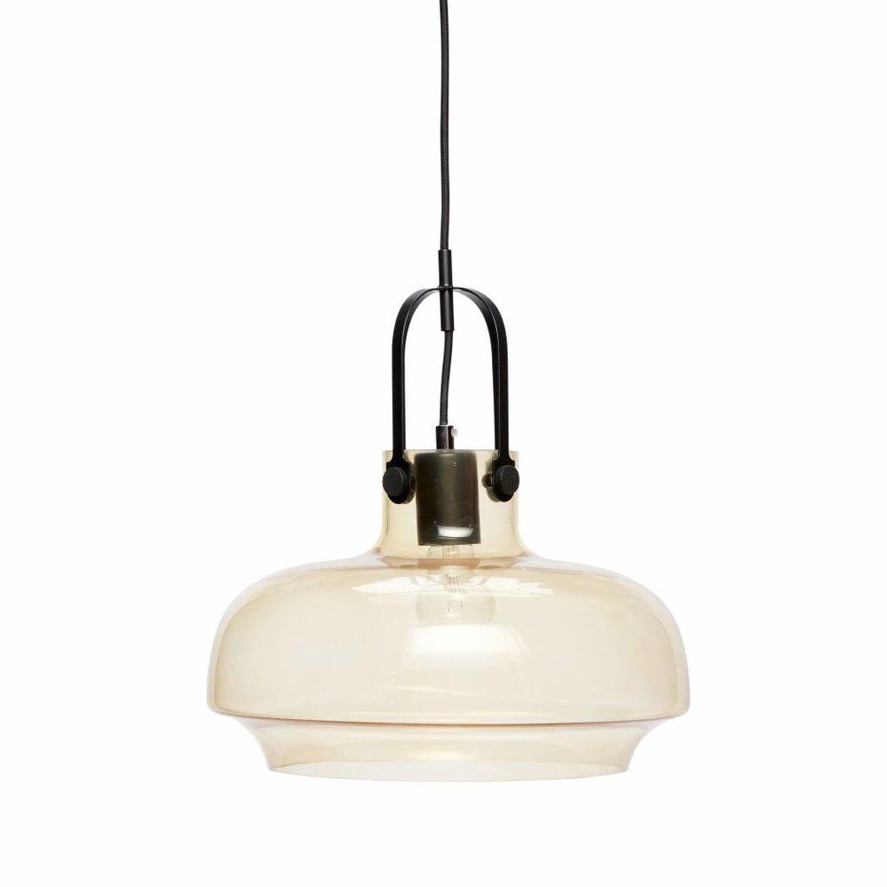 Hübsch Hanglamp, Glas en metaal, Bruin en Zwart, Inclusief Plafondkap, Ø35 x 35 cm. Hubsch 990302