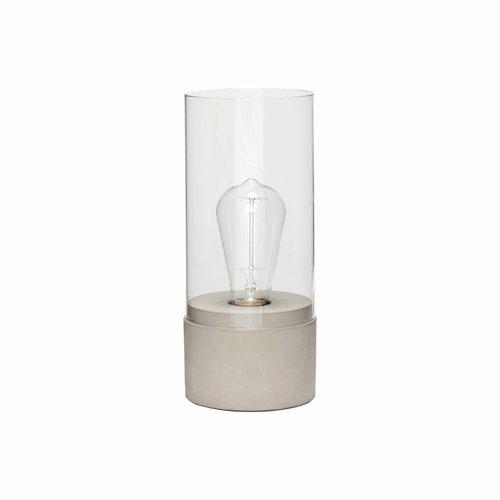 Hubsch tafellamp met glazen cilinder, grijs beton en glas, ø10 x 29 cm