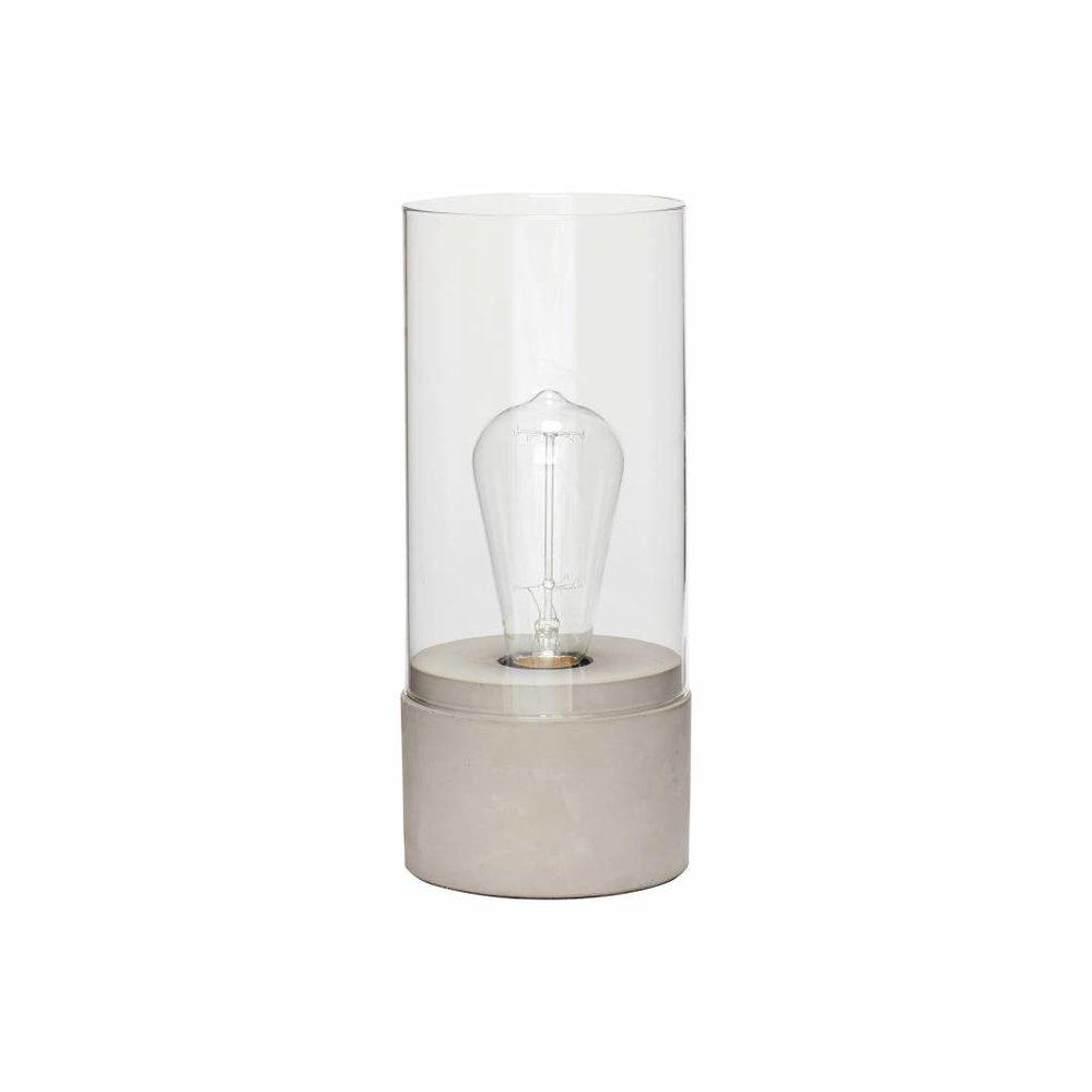 Hübsch Tafellamp met Glazen Cilinder, Grijs Beton en Glas, Ø10 x 29 cm. Hubsch 890402
