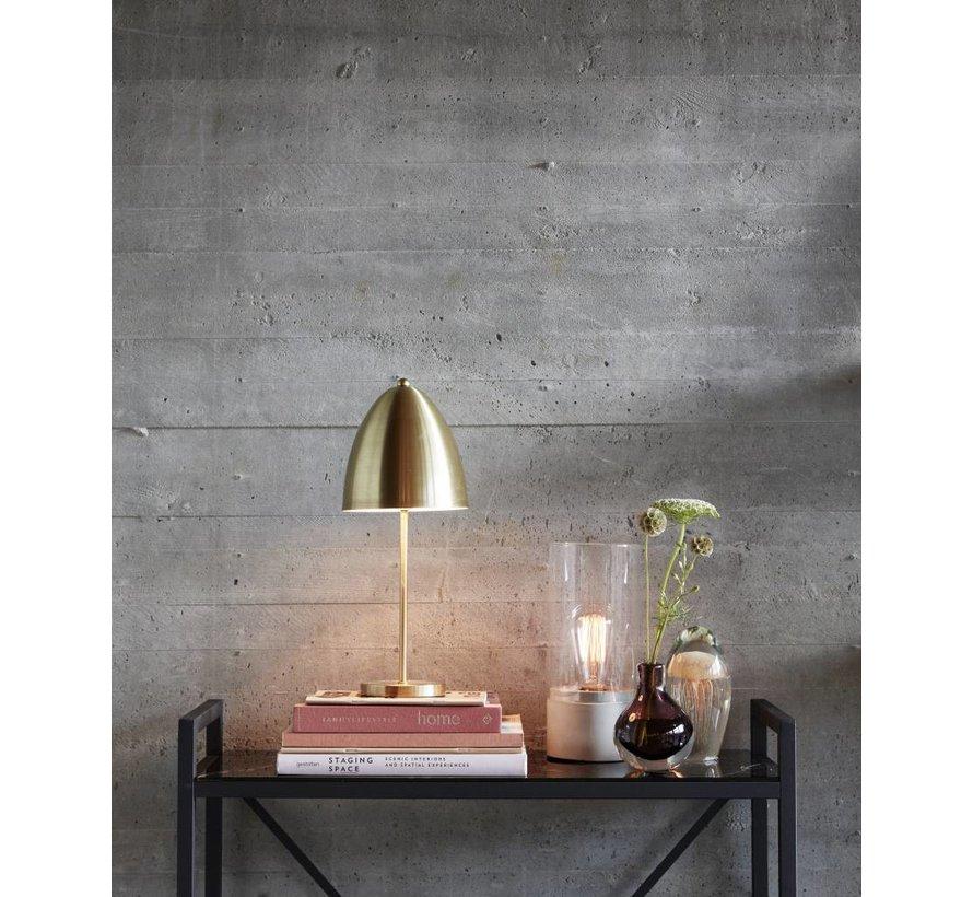 tafellamp met glazen cilinder, grijs beton en glas, ø10 x 29 cm
