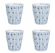 Broste Copenhagen beker Skagen, wit en blauw gestreept, 200 ml, ø8,5 x 9,5 cm , set van 4