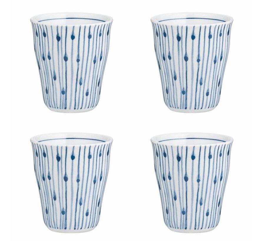 beker Skagen, wit en blauw gestreept, 200 ml, ø8,5 x 9,5 cm , set van 4
