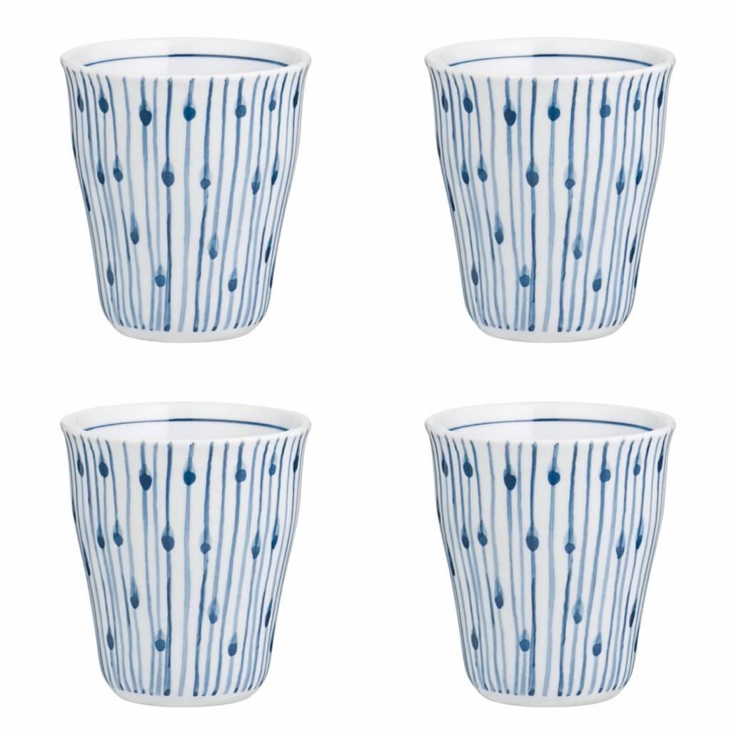 Broste Copenhagen beker Skagen, wit en blauw gestreept, 200 ml, ø8,5 x 9,5 cm , set van 4-14531520-5710688235858
