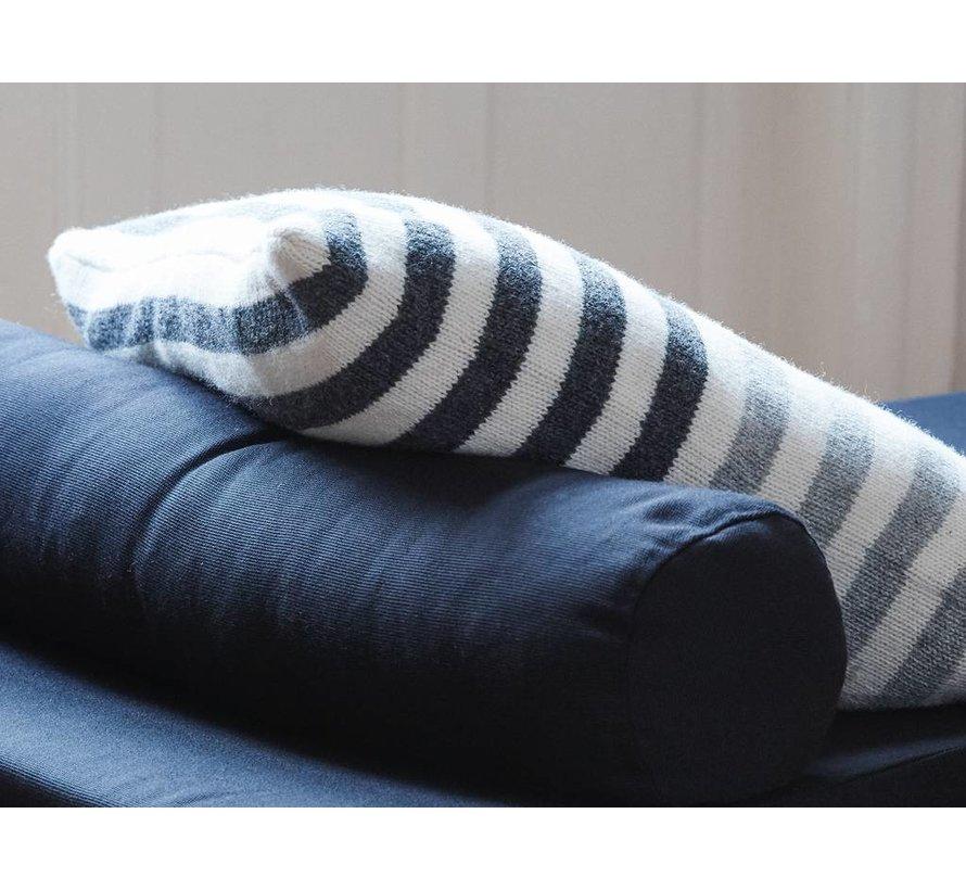 sierkussen, lamswol en dons, wit en grijs, inclusief binnenkussen, 50 x 50 cm