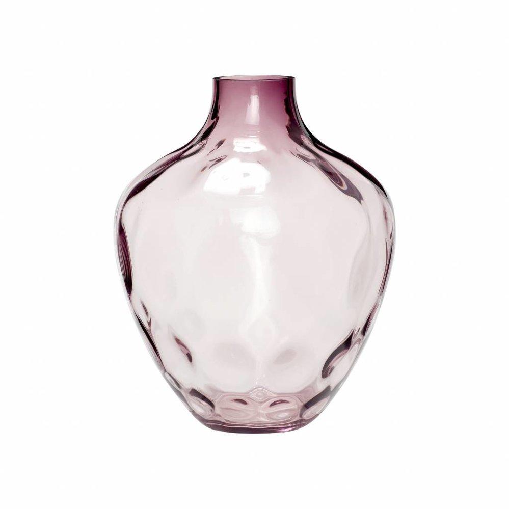 Hübsch Vaas, Glas, Roze, Reliëf, Ø28 x 37 cm. Hubsch 020407
