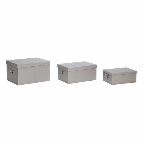 Hubsch opbergdoos met deksel - grijs karton - set van 3