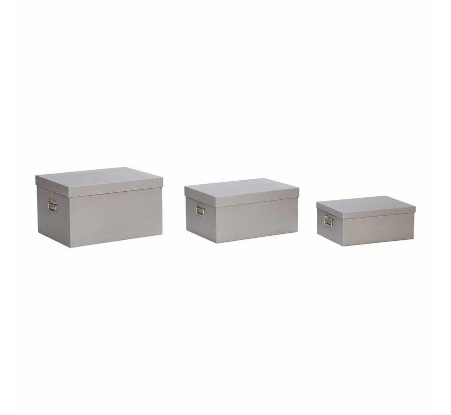 opbergdoos met deksel - grijs karton - set van 3