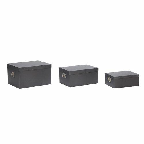 Hubsch opbergbox met deksel - zwart karton - set van 3