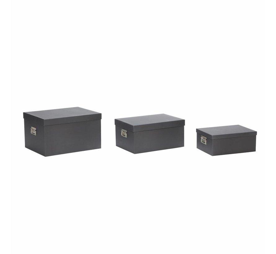 opbergdoos met deksel - zwart karton - set van 3