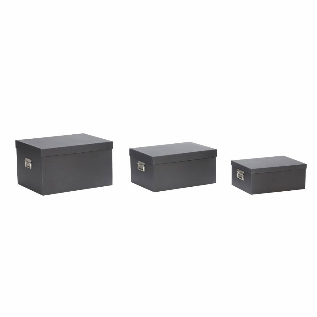 Hubsch opbergbox met deksel - zwart karton - set van 3-390302-5712772055731