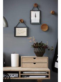 Hubsch fotolijst, metaal en glas, zwart, met ketting, 14 x 18 en 18 x 14 cm, set van 2