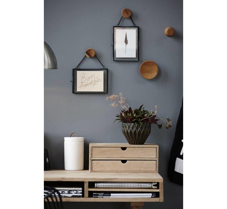 fotolijst, metaal en glas, zwart, met ketting, 14 x 18 en 18 x 14 cm, set van 2
