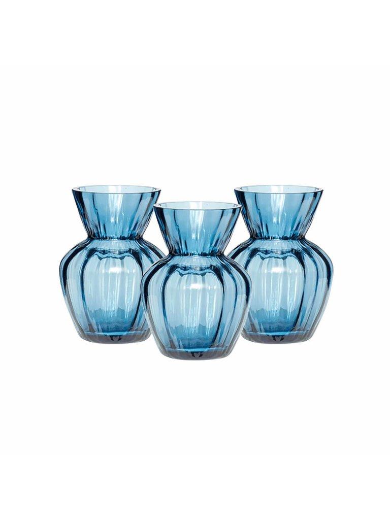 Hübsch Vaas, Glas, Blauw, met Groeven, Ø9 x 12 cm, Set van 3. Hubsch 660206