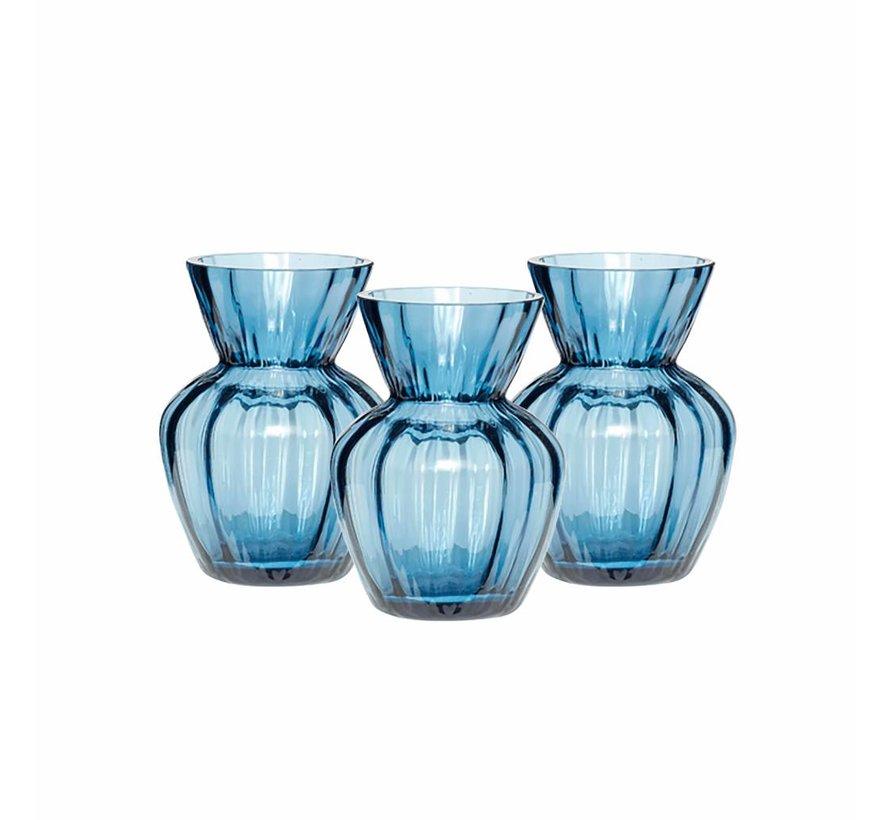 vaas, glas, blauw, met groeven, ø9 x 12 cm, set van 3