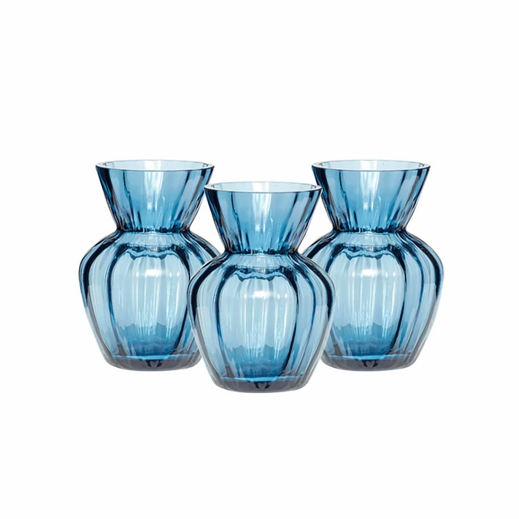 Hubsch vaas, glas, blauw, met groeven, ø9 x 12 cm, set van 3